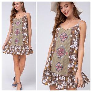Entro Mocha Plaid on Florals Mini Dress